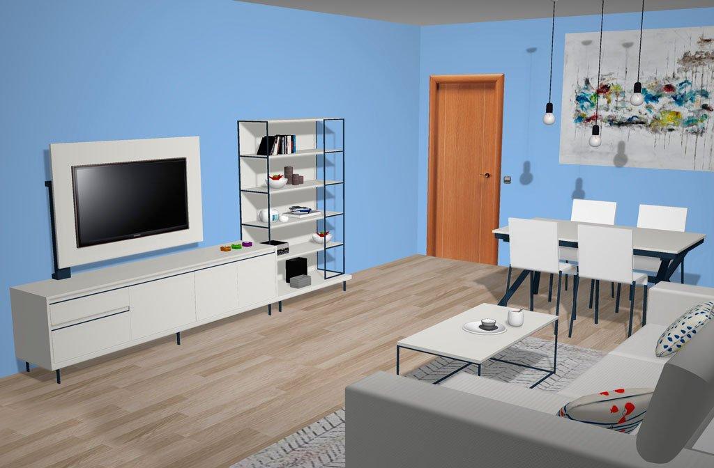 Mueble TV y estantería metálica, los muebles del salón