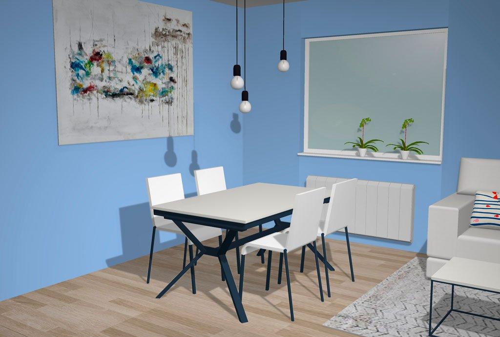Mesa de comedor fija con patas metálicas y sobre madera