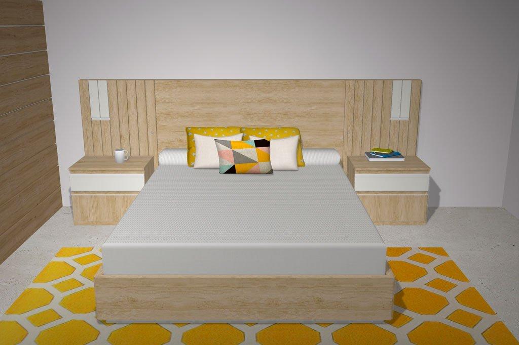 Un dormitorio de matrimonio acogedor con un extra de almacenamiento