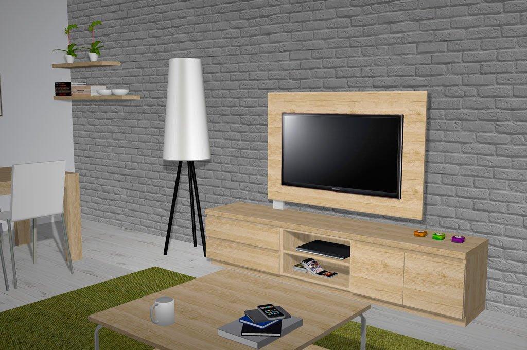 Mueble TV con un panel para la televisión giratorio