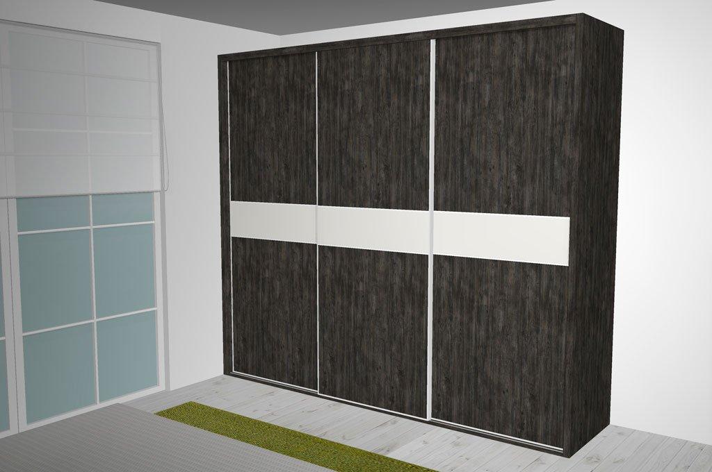 Armario de tres puertas correderas con franjas centrales