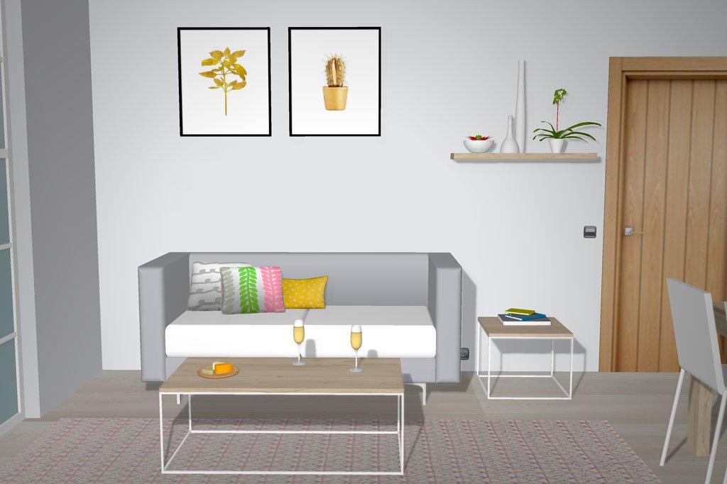 Mesas de centro con patas metálicas y sobre madera