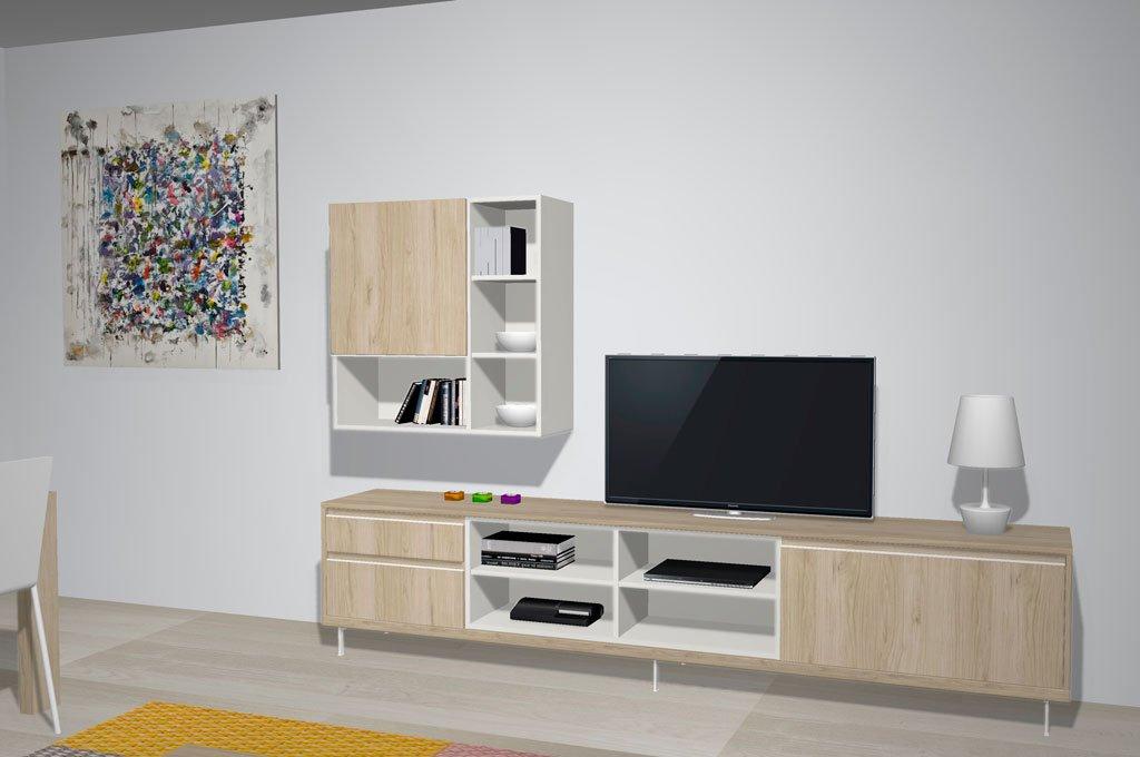 Mueble TV del salón comedor con huecos decorativos