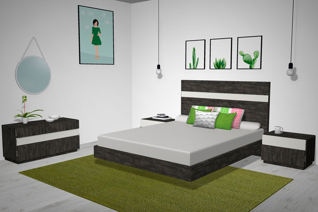 Muebles para el dormitorio de matrimonio en color Borneo