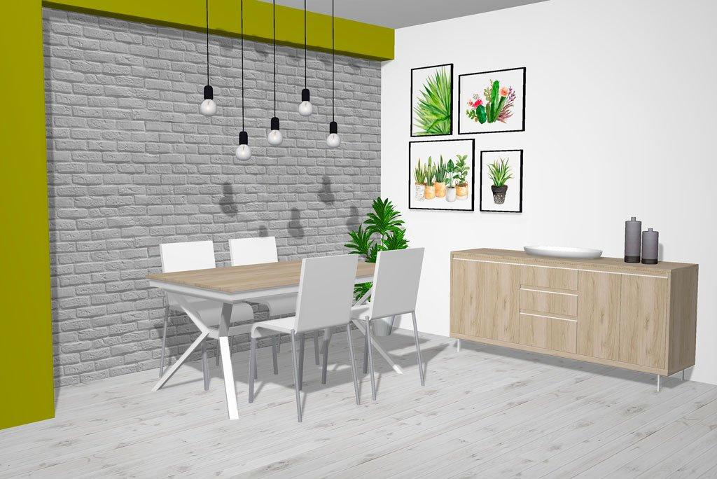 Conjunto de muebles salón comedor de estilo Nórdico