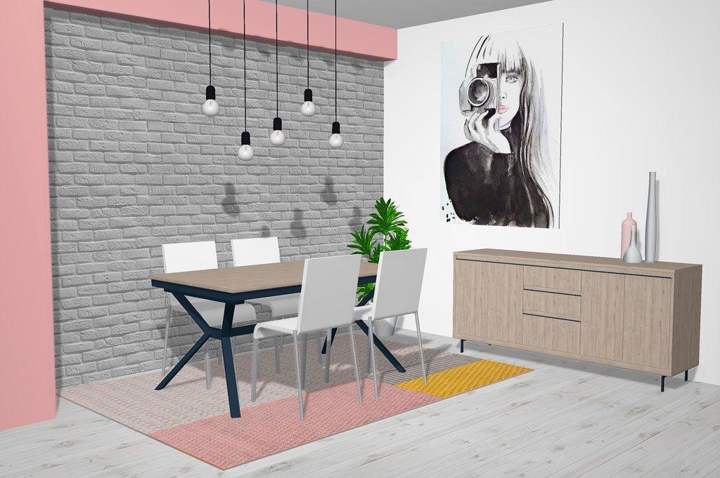 Mueble aparador con mesa de comedor extensible