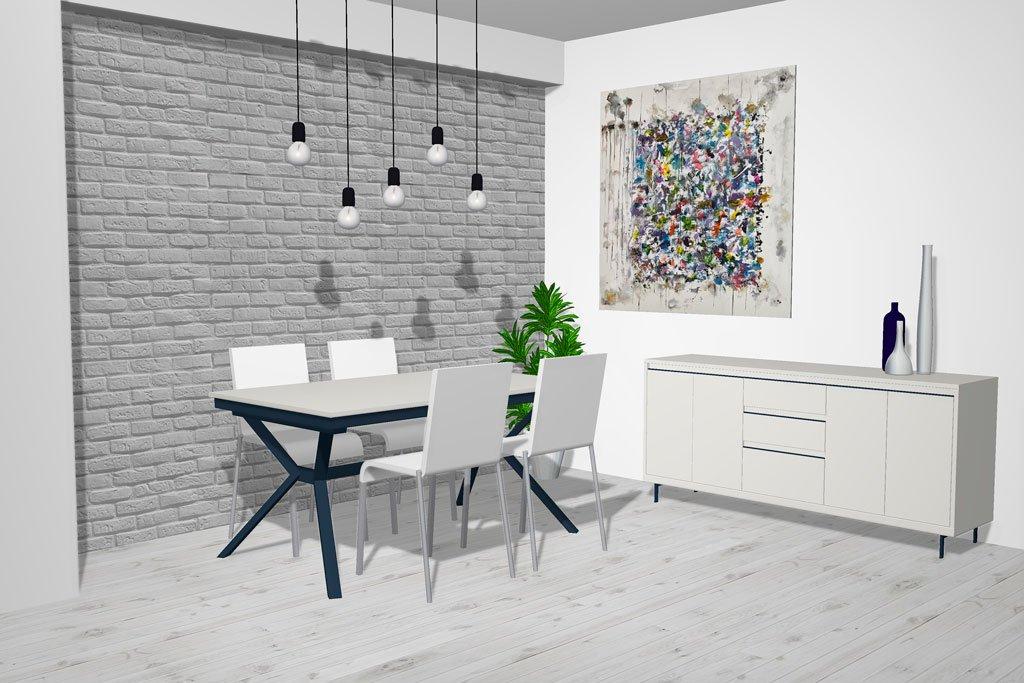 Salón comedor moderno en color Blanco White