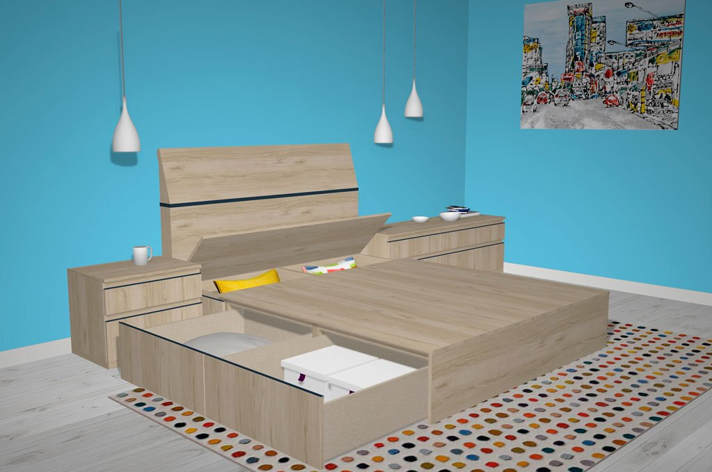 Arcones de gran capacidad tiene la cama del dormitorio