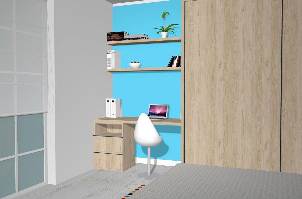 Un Home Office muy práctico montado en el dormitorio de matrimonio