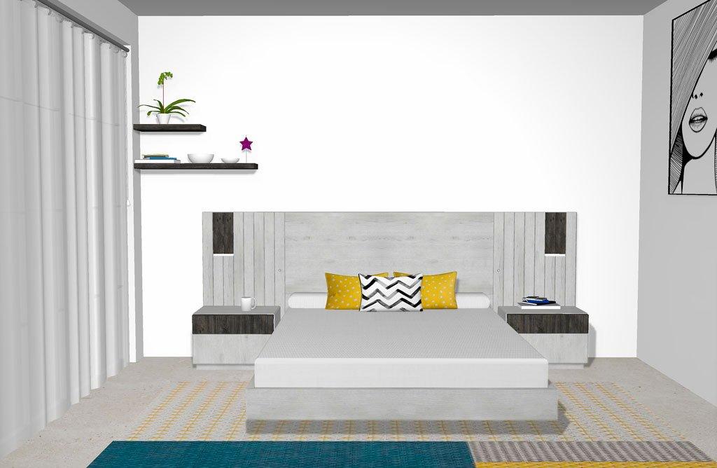 Un diseño de dormitorio de matrimonio contemporáneo