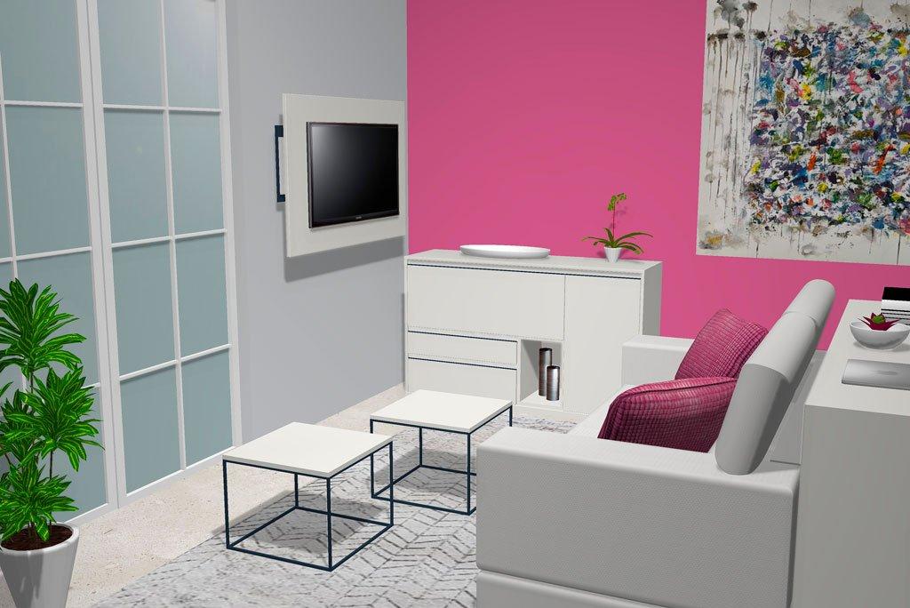 Mueble aparador con mesas de centro metálicas