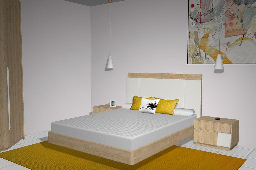 Cabezal del dormitorio matrimonio combinado en color