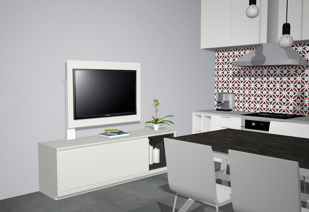 Panel TV con pie metálico todo en color Blanco White