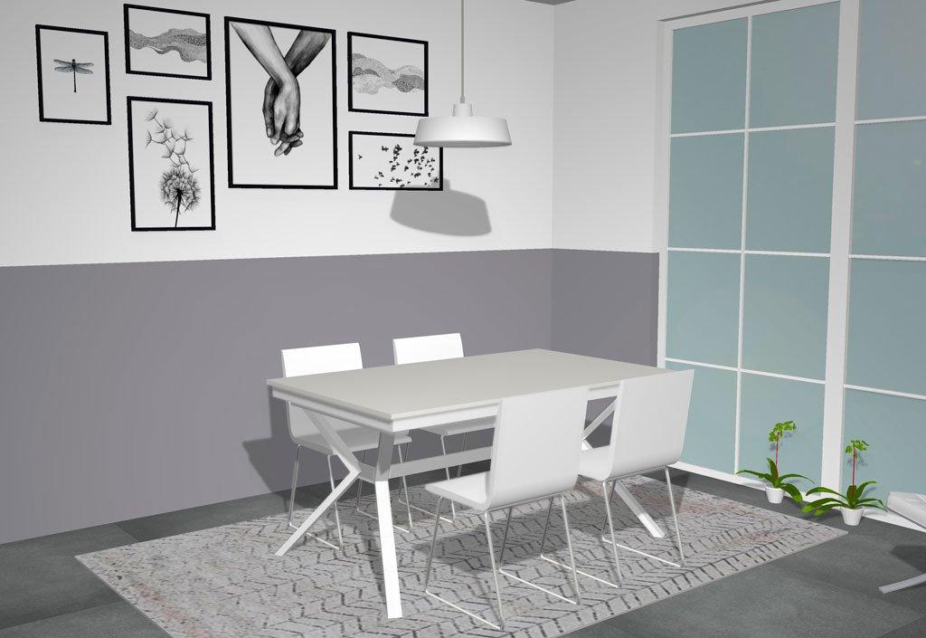 Mesa comedor de madera y metal toda en color Blanco