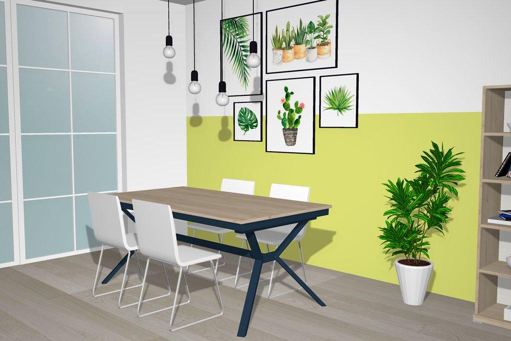 Moderna mesa de comedor combinada en Bambú y Zafiro