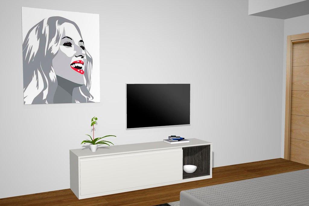 Mueble TV colocado en el dormitorio de matrimonio
