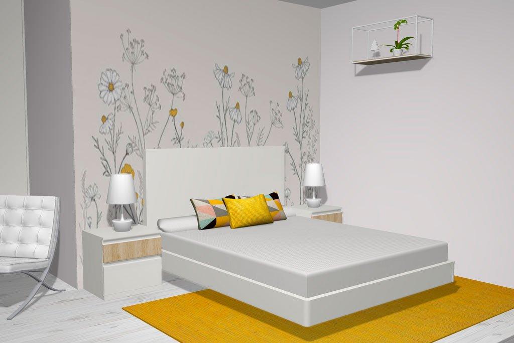 Cama aro flotante para el dormitorio de matrimonio