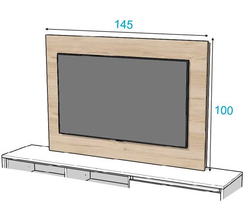 Croquis de las medidas del panel TV 107