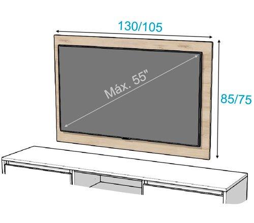 Las diferentes medidas que tiene el panel TV 115