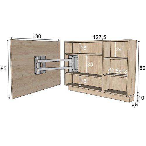 Las medidas de la estantería interior que tiene el panel TV 103