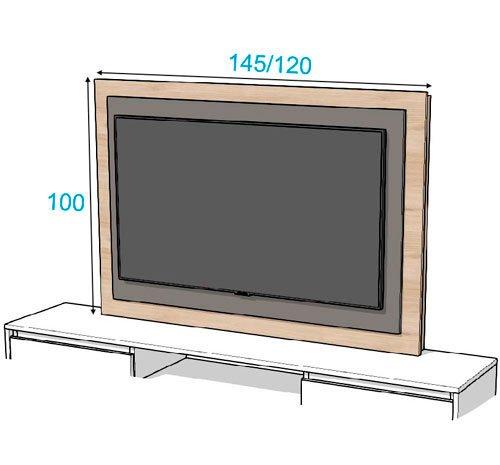 Diferentes medidas del panel TV 105 con las medidas 145 y 120