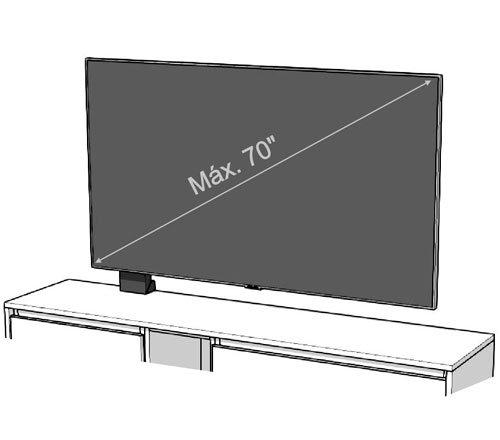 La medida máxima del televisor para el panel TV 120