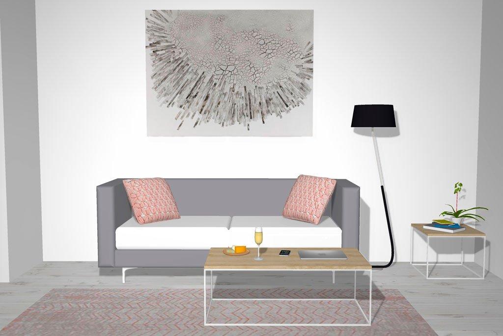 Mesa centro de madera y metal colocada delante del sofá