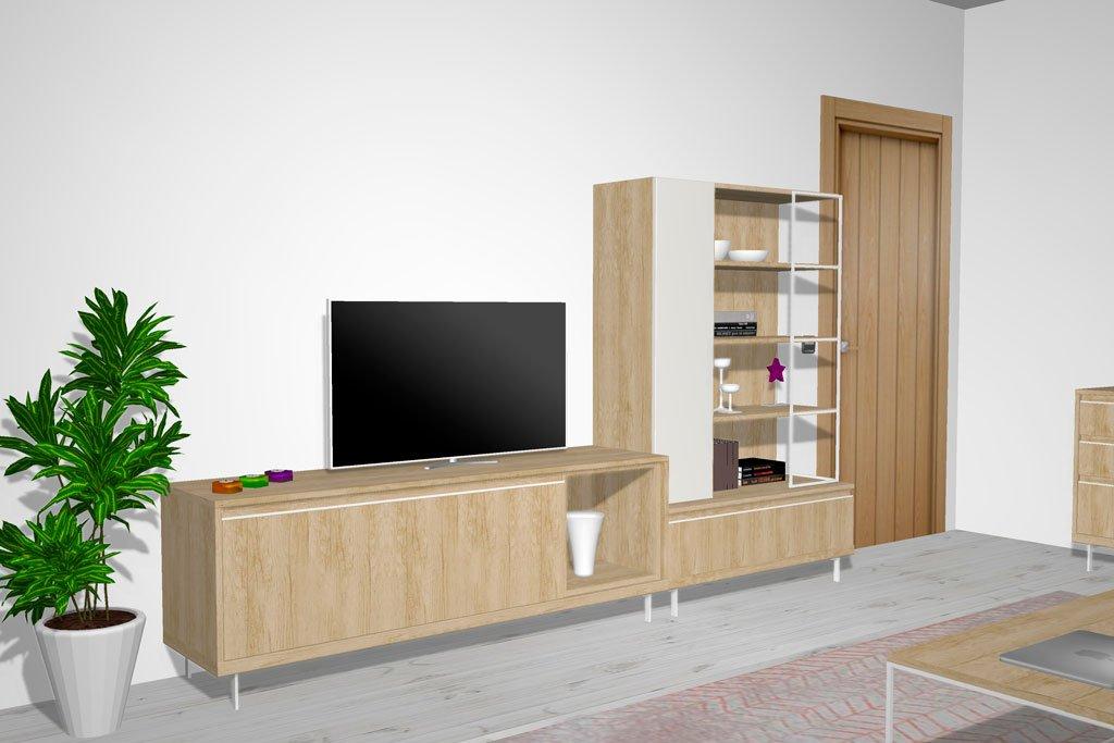 Mueble TV con vitrina metálica para el salón comedor