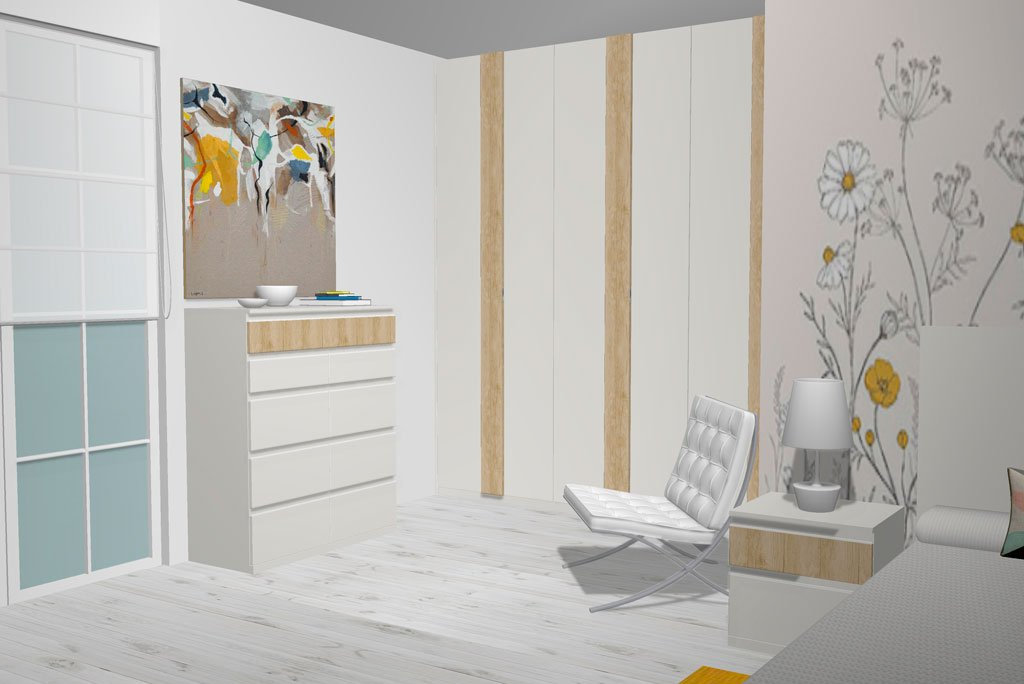 Mueble xinfonier con cajones en el dormitorio de matrimonio
