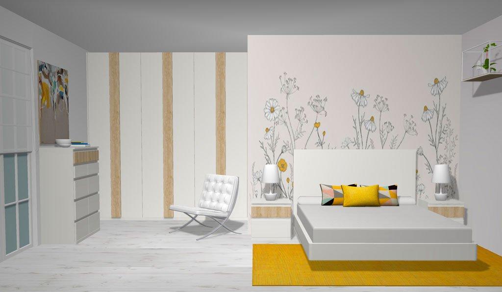 Muebles del dormitorio en color Blanco con detalles en Teka