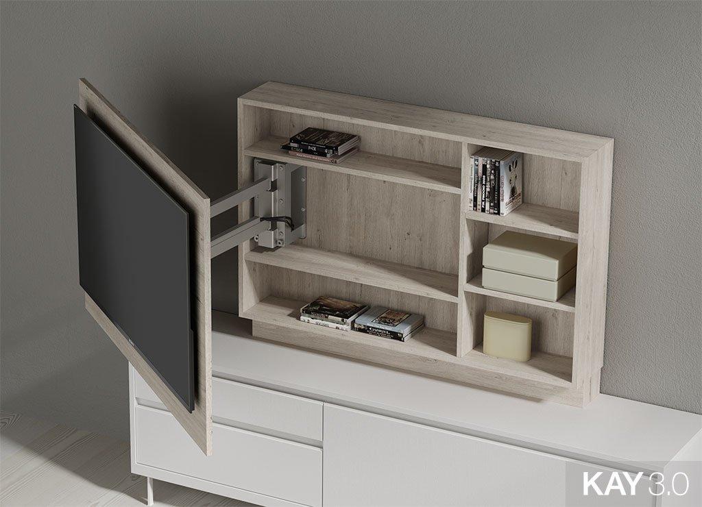 Panel TV giratorio modelo 103 con estantes abierto del catálogo KAY 3.0