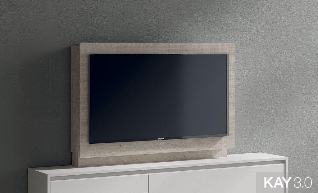 Panel TV giratorio modelo 103 con estantes del catálogo KAY 3.0
