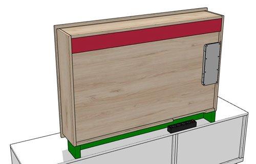 La parte posterior de la estantería del panel TV 103
