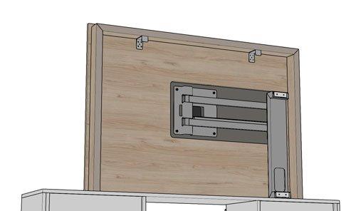 La parte trasera del panel TV 105 de la medida 145 y 120 cm