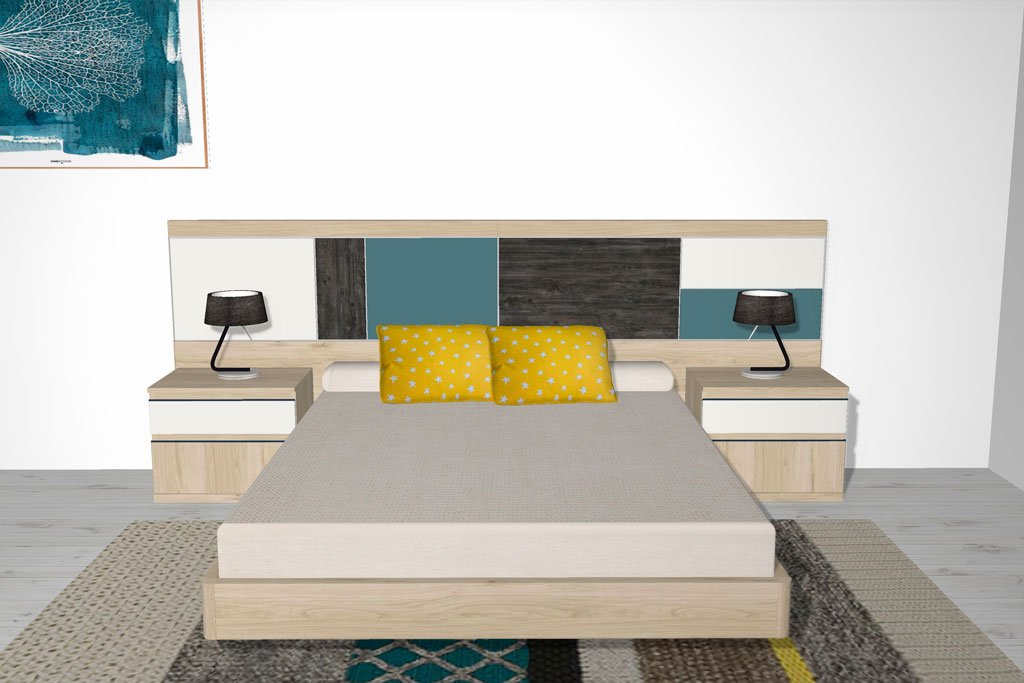 Cabezal para cama con detalles combinando de color