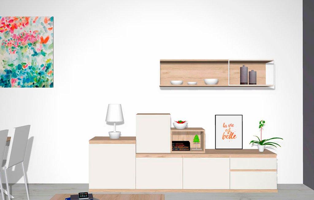 Conjunto de mueble para un salón comedor moderno