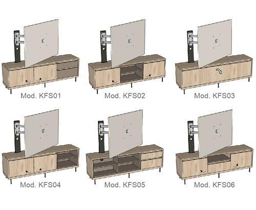 Diferentes muebles con el panel TV Free-standing
