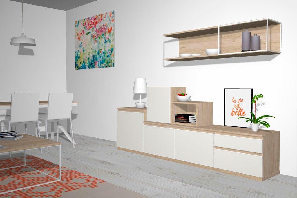 Salón comedor con muebles combinados en color
