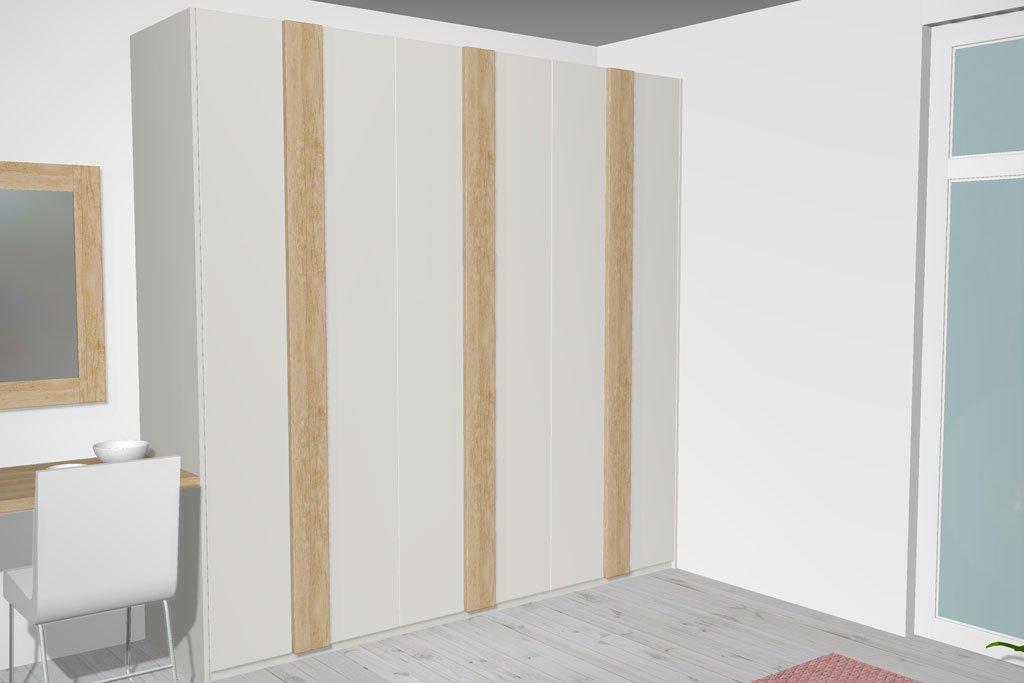 Armario puertas batientes con tirador detalle color