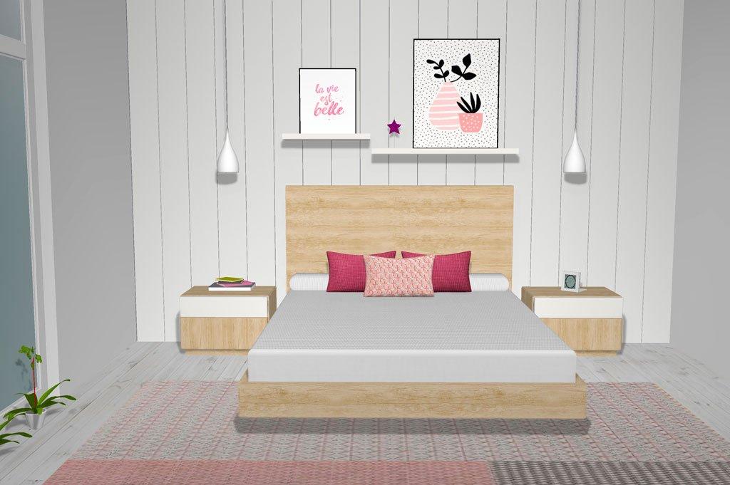Cabezal cama sencillo en color Teka