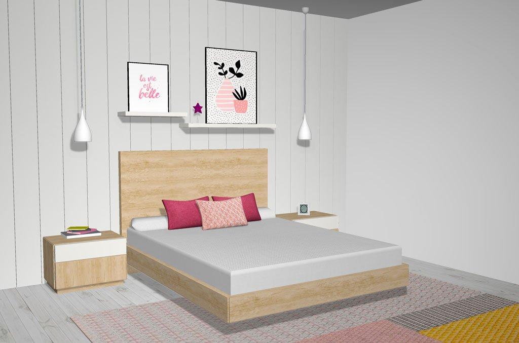 Dormitorio de matrimonio estilo Nórdico con un diseño de ensueño